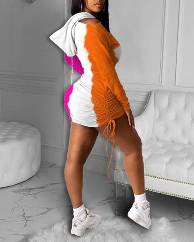Color Block Hooded Mid-waist Sweater Off-shoulder Drawstring Pleated Dress