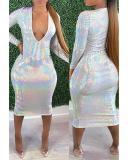 V Neck Gold Shinning Stamping Dress