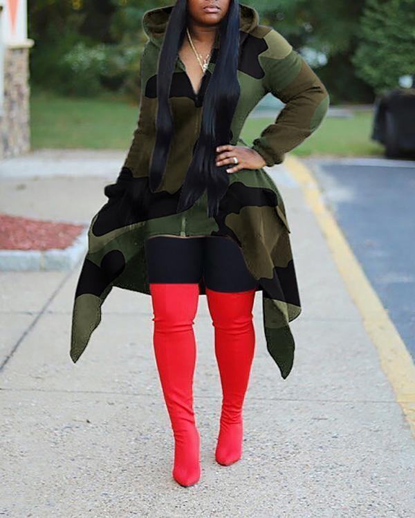 Hooded Camouflage Print Irregular Hem Coat