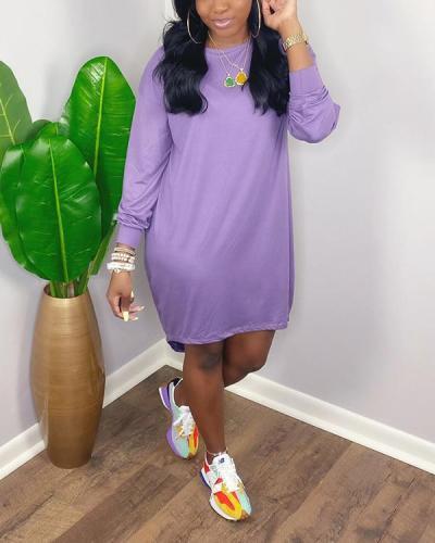 Casual Solid Basic O Neck Long Sleeve Dress