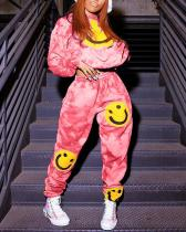Printed Smiley Face Tie-dye Sports Leisure Two-piece Suit