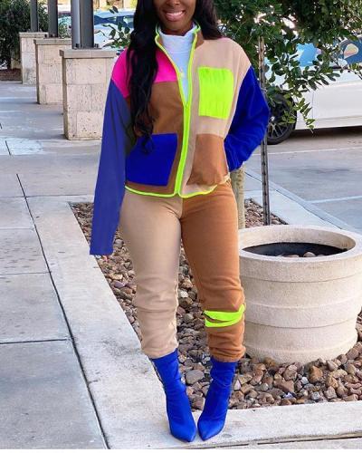 Plus Size Color Block Zipper Pocket Top & Pants