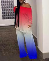 Casual Wide-leg Pants Gradient Color Two-piece Suit