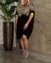 Plus Size Sequin Hit Color Casual Dress