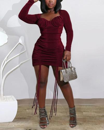Sexy Drawstring Solid Color Dress