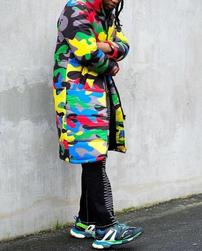 Color Camouflage Print Long Jacket Down Jacket