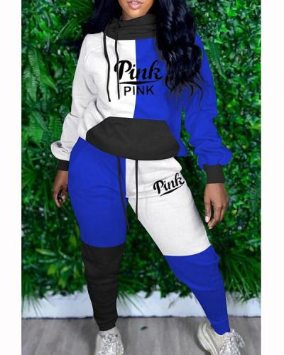 Plus Size Letter Contrast Color Hoodie Sweater With Sports Pants Set