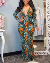 Printed V Neck Ruched Dress
