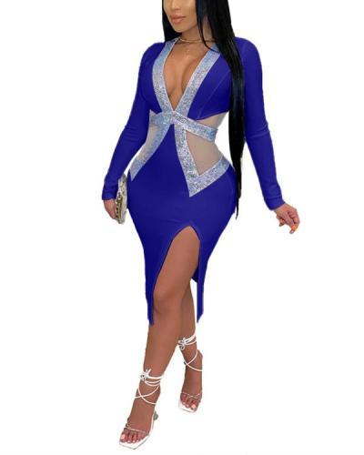 Deep V-neck Mesh Hot Rhinestone Hip Sexy Dress