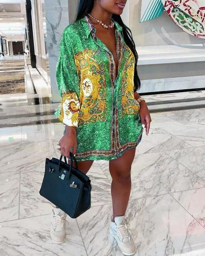 Stylish Turndown Collar Print Mini Plus Size Dress