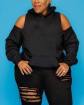 Cold Shoulder Ripped Design Black Plus Size Hoodie