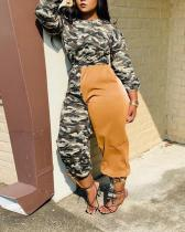 Camouflage Hit Color Sports Casual Suit
