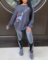 Sweatshirt Sports Print Casual Two Piece Suit