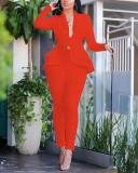 Fashion Ruffled Professional Uniform Casual Two-piece Suit