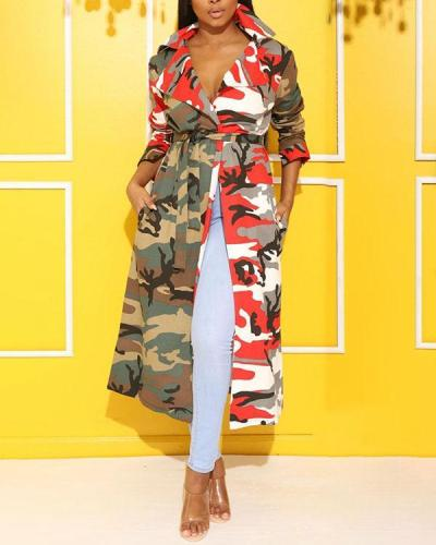 Camouflage Cloak Jacket with Pockets and Belt