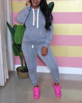 Pure Color Hooded Sweater Two-piece Suit