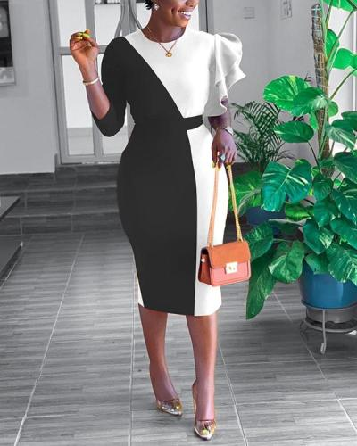 Fashion Stitching Characteristic Lace Sleeve Dress