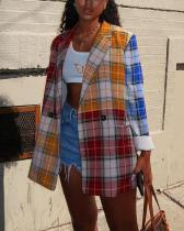 Mid-length Stitching Square Plaid Jacket