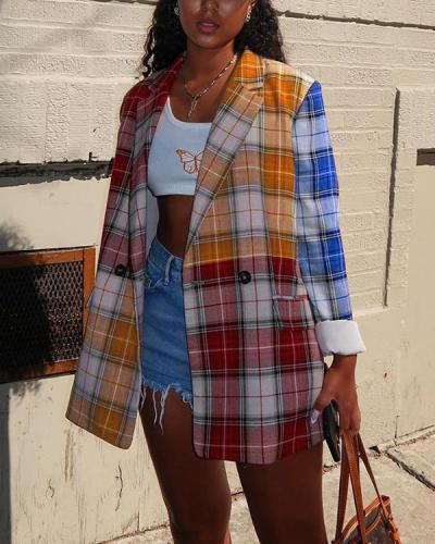Mid-length Stitching Square Plaid Jacket