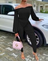 Lantern Sleeve Off The Shoulder Solid Two Piece Sets