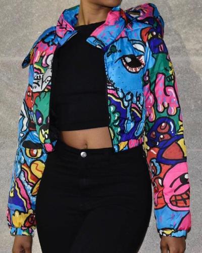 Graffiti Print Long Sleeve Coat