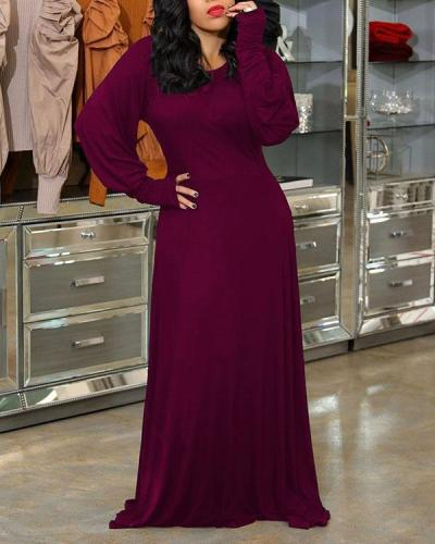 Lantern Sleeve Solid Color Maxi Dress