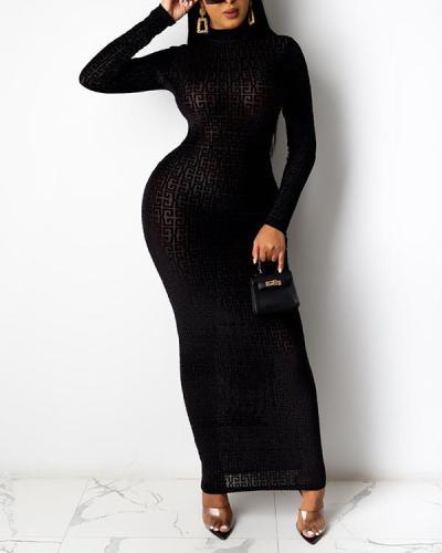 Print Semi Long Sleeve Maxi Dress