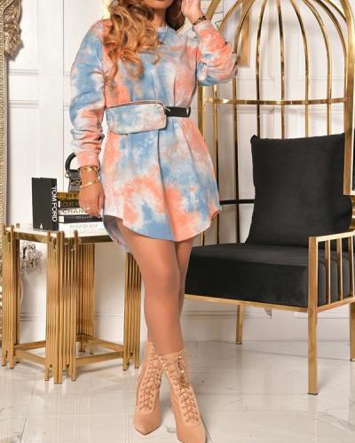 Plus Size Tie Dye Mini Dress With Belt