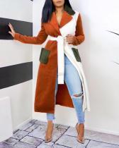 Wide Lapel Patchwork Lace-Up Coat