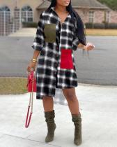 Fashion Plaid Irregular Shirt Dress