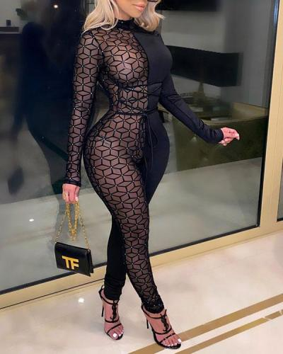 Sexy Mesh Slim Long-sleeved Jumpsuit