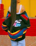 Casual Colorful Striped Print Coat Jacket
