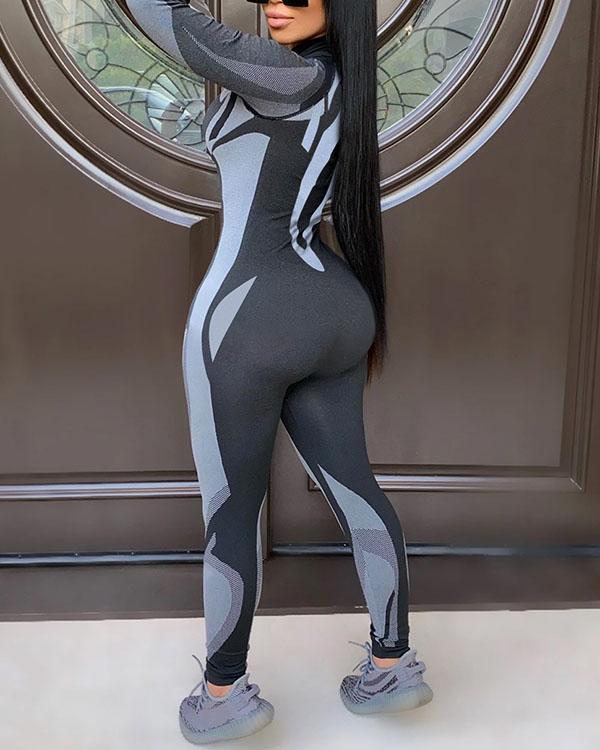 Slim Sexy Yoga Sports Long Sleeve Jumpsuit