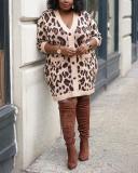 Leopard Print Hit Color Long Sleeve Plus Size Dress Jacket