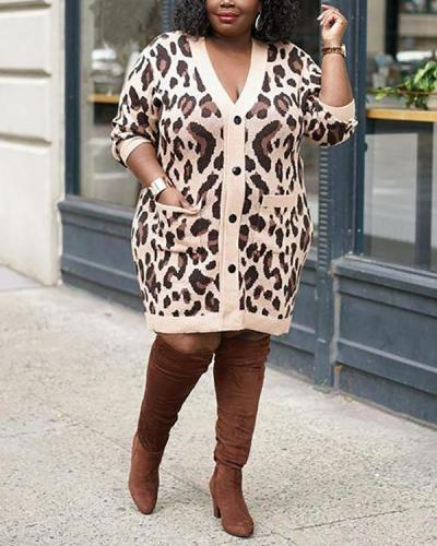 Leopard Print Hit Color Long Sleeve Plus Size Dress Jacket
