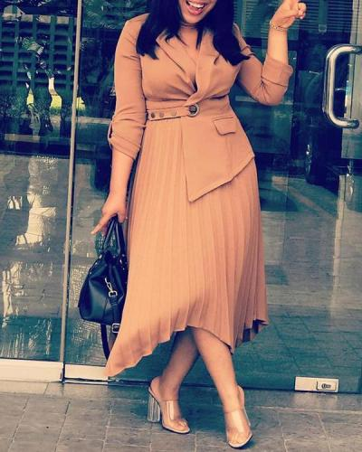 Irregular Hem Plus Size Ruffled Solid Color Midi Dress