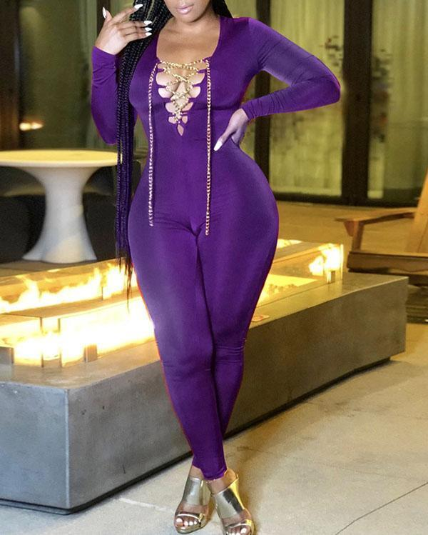 Solid Color Sexy Tie Chain Long Sleeve Jumpsuit