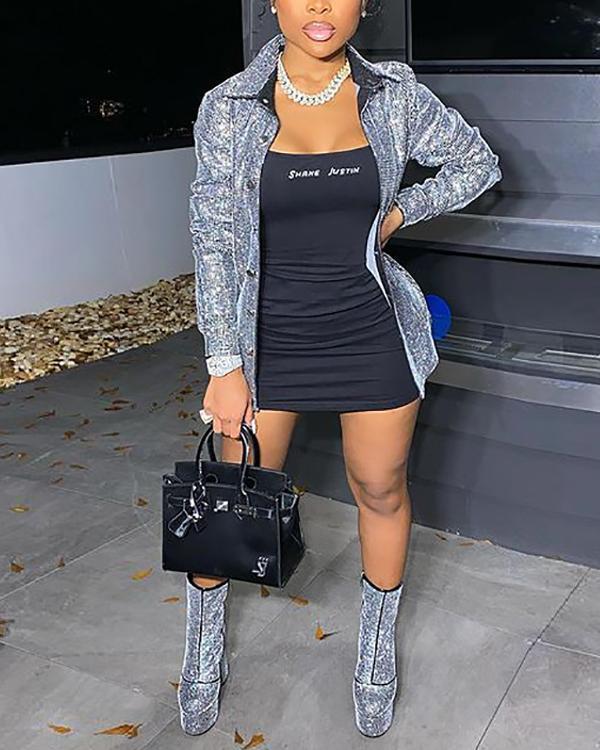 Sequined Wide Lapel Plus Size Coat