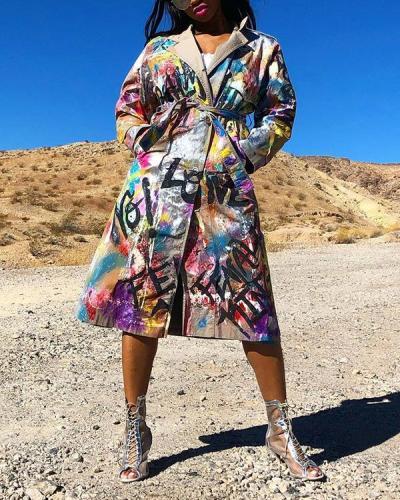 Wide Lapel Splash Ink Print Lace-Up Coat