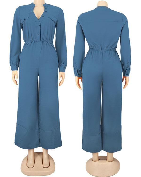 Casual Loose Solid Color Long-sleeved Jumpsuit
