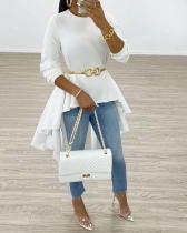 Fashion Solid Color Irregular Hem T-shirt Tops