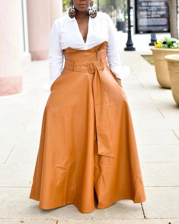 High-Waist Belted PU Skirt