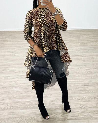 Fashion Camo Leopard Print Irregular Hem T-shirt Tops