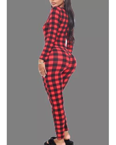 Red Living Plaid V Neck Skinny Jumpsuits