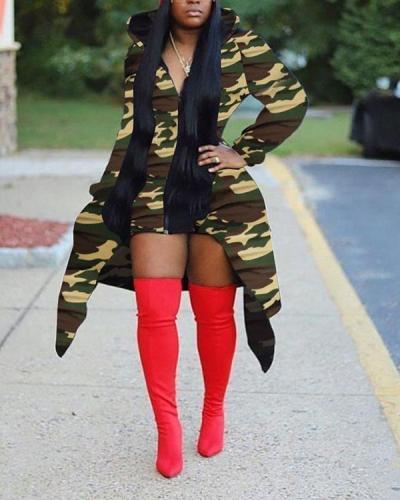 Fashion Printed Irregular Hem Zipper Hooded Jacket