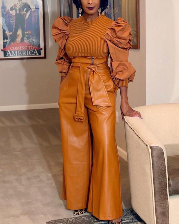 Faux-Leather Wide-Leg Pants