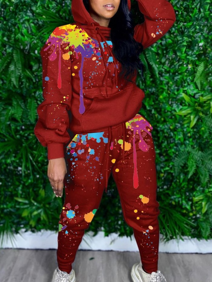 Ink-splash Printing Casual Two-piece Suit
