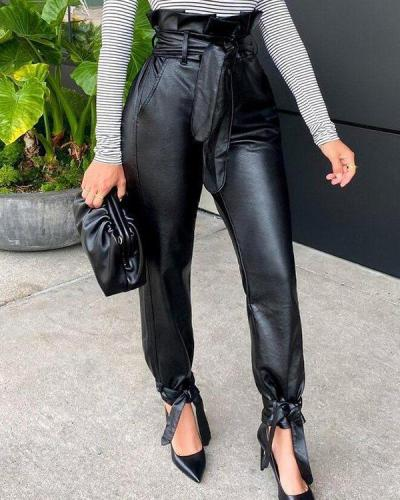 Faux-Leather Belted Tied-Cuff Pants