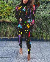 Casual Printed Bat Sleeve Split Tops & Trousers Two-piece Suit