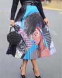 Fancy Printed Pleated Skirt
